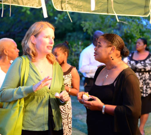 Candis Niles from the Anguilla Tourist Board and I at the Governor of Anguilla's Welcome