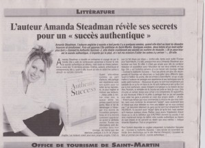 Book Launch Article in French in SXM Week Oct 1st 2013